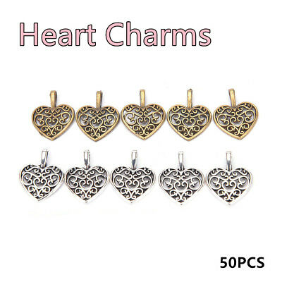 50pcs Hollow Filigree Heart Charms Vintage Trendy Metal Pendant For Jewelry Hot