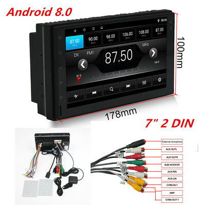 "Android 8.0 Bluetooth Quad Core Car Stereo Radio 2 DIN 7"" MP5 Player GPS Wifi FM"