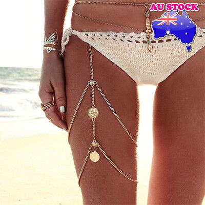 Wholesale Gold Plated Long Chain Thigh Chain Gold Disc Body Chain