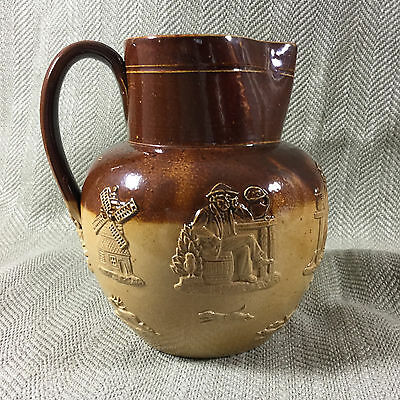 ANTIQUE DOULTON LAMBETH JUG ENGLISH SALT GLAZED POTTERY HARVEST Stoneware 19TH C