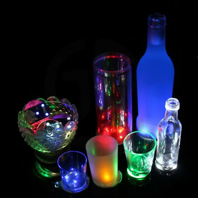 LED Coaster Tableware Glow Bar Sticker Home Party Color Change Drink Mat Cup CV