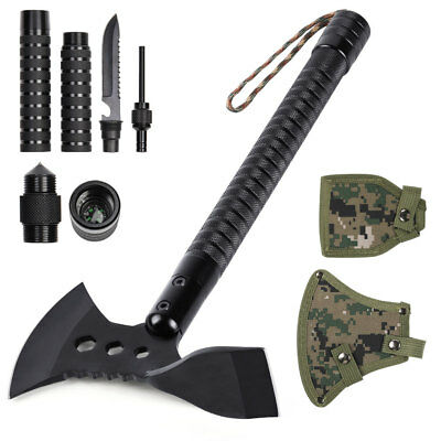 """Survival Hatchet Backpacking 17.7"""" Portable Multi-tool Sheath Camping Axe & Adze"""