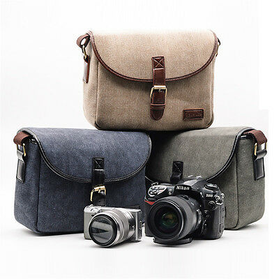 Travel Canvas Shoulder Messenger Bag for Canon Nikon Sony DSLR Digital Camera