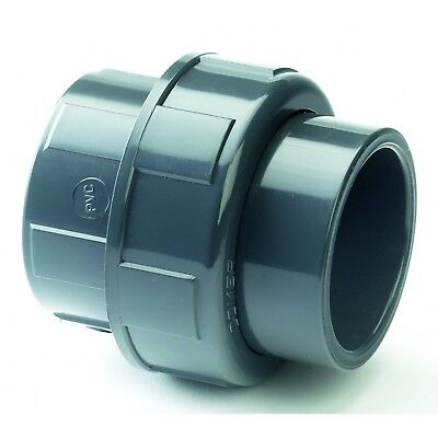 """PVC Solvent Weld Equal Union. Pipe Joiner Pressure Grade Imperial 1/2"""" to 4"""""""
