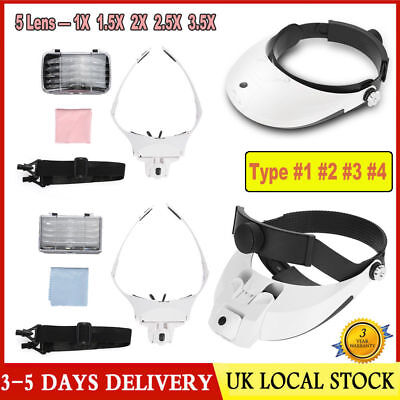 Headband Magnifier with 2 LED Lights Magnifying glass hands free LED Lamp 5 Lens