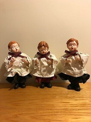 Vintage Fabric Paper Mache Choir Boys/Girl Christmas Decoration Angelic
