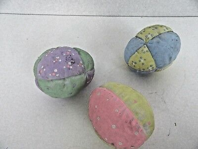 133.   3 Hand Painted Ceramic Bisque Quilted Easter Eggs Multi Pastel Colors