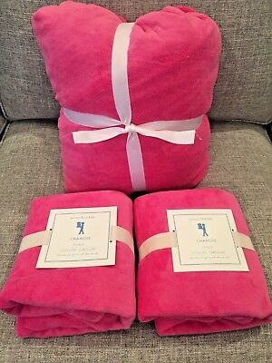 NEW Pottery Barn Kids Bright Pink Chamois Queen Fitted Sheet and Standard Shams