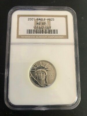 2001 Statue of Liberty 1/4 Oz Quarter-Ounce Platinum Eagle $25 MS 69 NGC