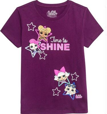 LOL Surprise! Time To Shine Glow In The Dark Girls T-Shirt - Purple - XS-XL NWT