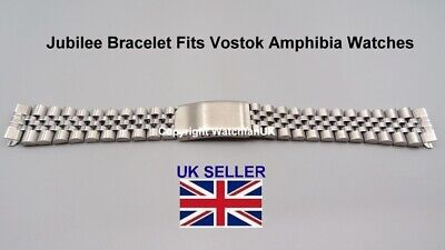 Jubilee Style Bracelet with 18MM Straight End Pieces Fits Vostok Amphibia Watch