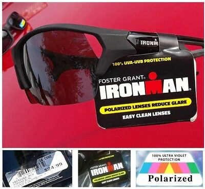 233d30cdf2 IRONMAN Foster Grant POLARIZED Sunglasses Sports Driving Riding Fishing  Running