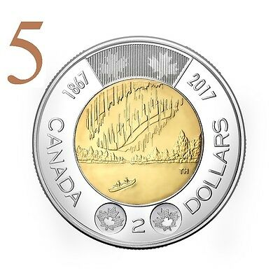 CANADA 2017 New 5xToonies 150th Our Wonders DANCE OF THE SPIRITS (BU From roll)