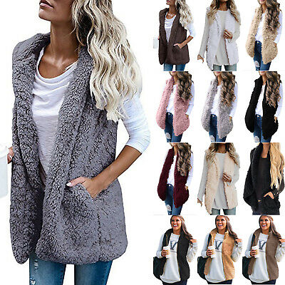 Women Ladies Faux Fur Vest Waistcoat Gilet Sleeveless Jacket Coat Outwear Casual