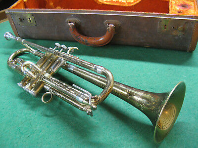 Getzen Model 90 Trumpet Underslung 3rd Slide, Nice Deluxe Case and Bach 7C MP