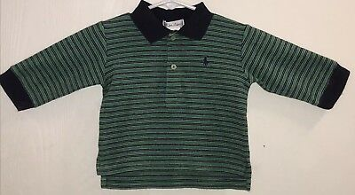 Ralph Lauren Baby Boy's Sz 9M Polo Shirt Long Sleeve Green/Navy Blue Stripes EUC