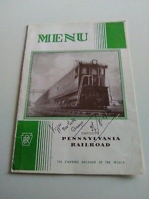 Mussolini's Black Shirts Band, Menu Pennsylvania Railroad (1934)  Two Signatures