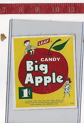 Vintage vending machine display 1c Leaf  Big Apple candy card FREE SHIPPING