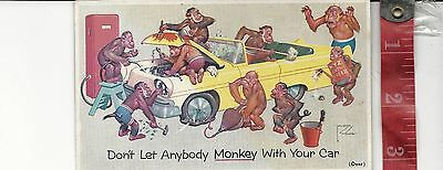 Vintage advertising card dont let anybody monkey with your car Jacksontown oh.