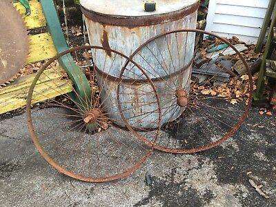 Vtg Antique Spoked Bicycle High Wheel 34in Diameter Metal Wheels Pair
