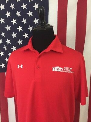Under Armour abc American Building Components Polo Shirt men's XL red wick 18054