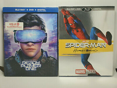 Spider-Man: Homecoming + Ready Player One Blu-ray+DVD+Digital+RARE SLIP COVERS