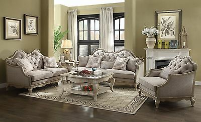 ACME Chelmsford sofa and loveseat antique taupe finish with beige fabric
