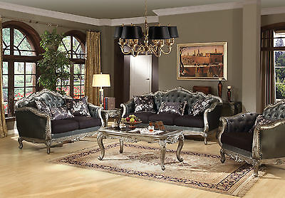 ACME Chantele antique platinum finish upholstery sofa and loveseat