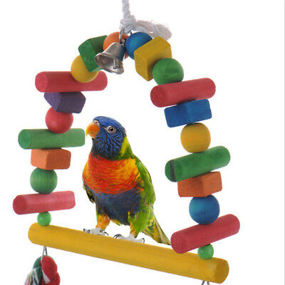 Colorful Arch Bridge Swing Bell Toy Pet Bird Parrot Wooden Toy Pet Swing Toy BE