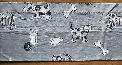 "Valance Laura Ashley 84"" x 18"" Blue & White with Dogs & Cats"