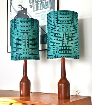 Mid Century Danish Eames Teak 'KYST' Table Lamps with new bespoke shades PAIR