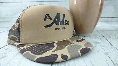 a601fab0d96 Vintage Snapback Camo Hunting Duck Deer Cap Hat Mesh Trucker Adco Boiler