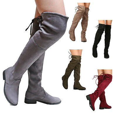 e1e9bdb68e7 Womens Long Stretch Thigh High Boots Over the Knee Block High Heel Shoes  Size US