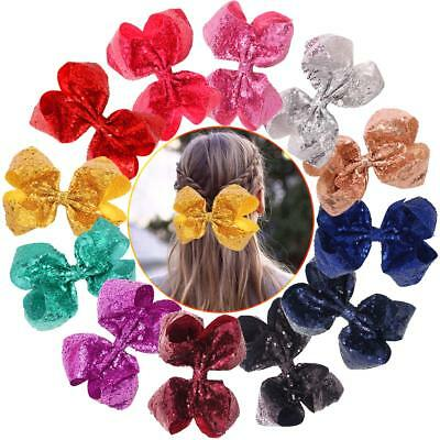 12Pcs Sparkly Glitter Sequins Big 8Inch Hair Bows Alligator Hair Clips for Girls