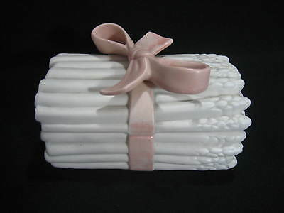 FITZ & FLOYD 1981  White Asparagus Lidded Box with Pink Ribbon - Excellent Cond