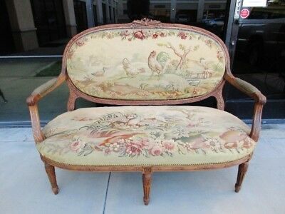 * Sale* 19Th Century Victorian Louis Xvi French Walnut Settee Aubusson Fabric