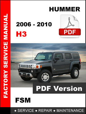 Hummer H3 2006 2007 2008 2009 2010 Service Repair Factory Maintenance Fsm Manual