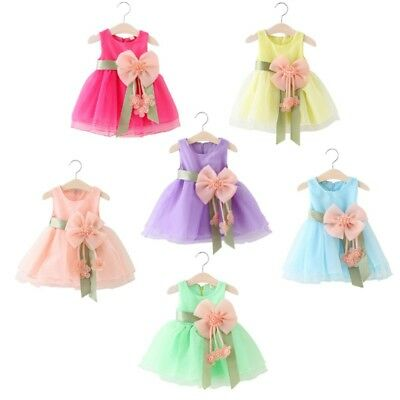 Toddler Girls Princess Dress Baby Lace Big Bow Party Wedding Tulle Tutu Dresses
