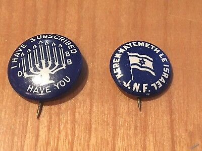 2 Vintage 1950s Jewish National Fund Cause Pinback Buttons Israel