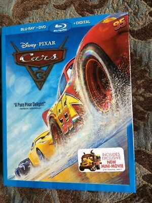 Disney Pixar Cars 3 Blu-ray + DVD + Digital HD Movie BRAND NEW with Slip Cover