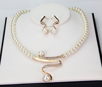 Elegant Wedding Bridal Jewelry Rhinestone Pearls Necklace Earring Set Fashion