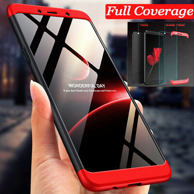 For Samsung Galaxy A9 A7 2018 Hybrid 360° Protective Case Cover +Tempered Glass