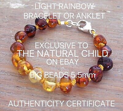 EXCLUSIVE GENUINE BALTIC AMBER BRACELET LIGHT RAINBOW Jewellery Beads FREE POST