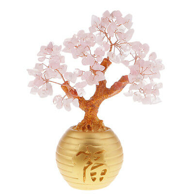 Pink Feng Shui Crystal Money Tree Office Home Decor Bring Luck / Wealth