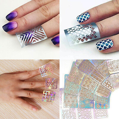 24 Sheets Nail Art Vinyl Stencil Manicure Curved Tip 3D Nail Care Sticker Tool