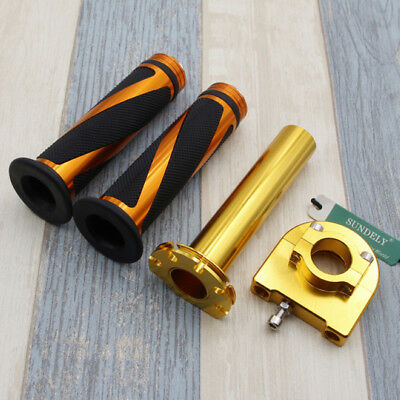 "Motorcycle Dirt Bike Scooter 7/8"" Gold CNC Hand Grips Throttle Twist Tube Lever"