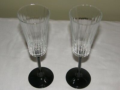2 Grand Meridian Fluted Champagne Glasses Black Stem Cristal D'Arques-Durand