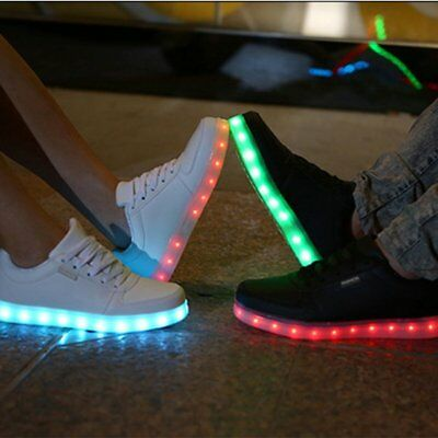 Unisex LED Low Top Light Up Shoes Flashing Sneakers USB Casual Lace-up Shoes AZ