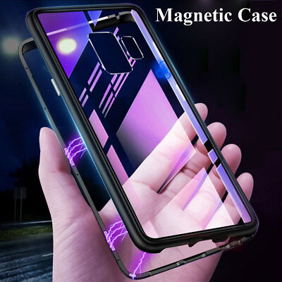 For Samsung Galaxy A7 A9 J4 J6 Plus 2018 Magnetic Metal Case+Temper Glass Cover