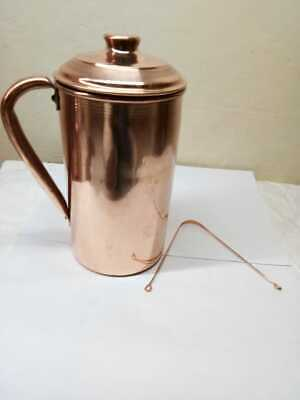 Pure Copper Smooth Water Jug Copper Pitcher For Ayurveda Health Benefit 100% New